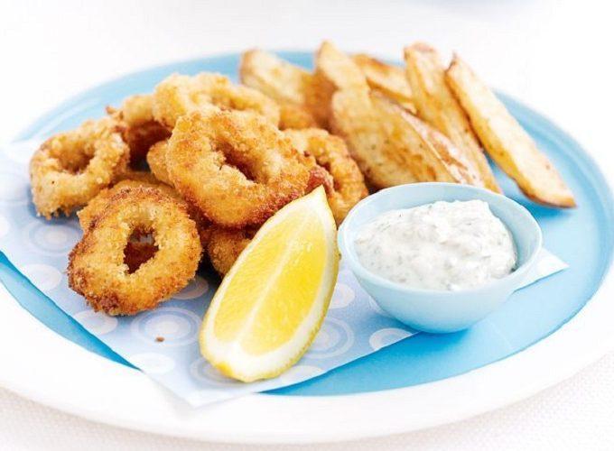 Mực chiên giòn sốt mayonnaise tỏi